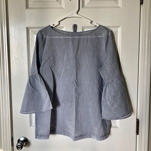 Pinstriped blouse with trumpet sleeves